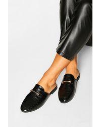 Boohoo Basic Croc Mule Loafers - Black