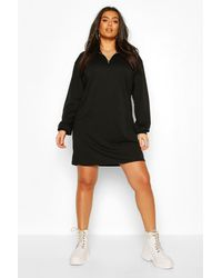 Boohoo Plus Zip Up Oversized Sweat Dress - Black