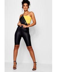 Boohoo - Wet Look Longline Cycling Shorts - Lyst