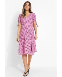 Boohoo Woven Polka Dot Button Front Midi Dress - Rosa