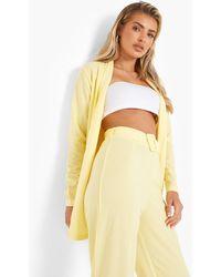 Boohoo Blazer & Self Fabric Trousers Suit Set - Yellow