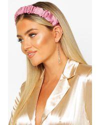 Boohoo Bandeau Pour Cheveux Froncé En Satin - Rose