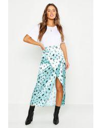 Boohoo Petite Satin Leopard Print Wrap Midi Skirt - Blue