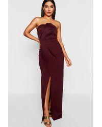 Boohoo Bandeau Wrap Detail Split Maxi Bridesmaid Dress - Red