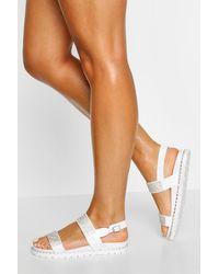Boohoo Embellished Double Strap Sandals - Blanco