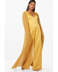 Boohoo | Boutique Izzy Cape Satin Tailored Jumpsuit | Lyst
