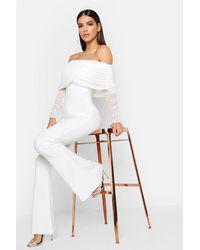 Boohoo Mesh Bardot Ruched Jumpsuit - Bianco