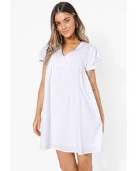 Boohoo Puff Sleeve Smock Mini Dress - Blanco