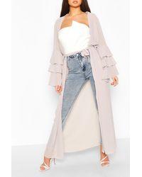 Boohoo Tiered Sleeve Maxi Belted Kimono - Gray