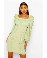 Boohoo Tall Ruffle Long Sleeve Woven Bodycon Dress - Verde