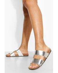 Boohoo Wide Fit Metallic Double Strap Footbed