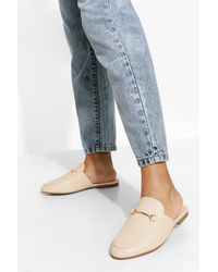 Boohoo Wide Width T Bar Mule Loafers - Natural