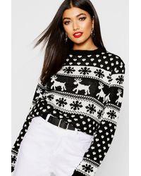 Boohoo Womens Weihnachtspullover mit Rentier und Schneeflocken - Schwarz