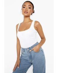 Boohoo Petite Recycled Square Neck One Piece - White
