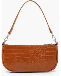 Boohoo Croc Baguette Shoulder Bag - Brown