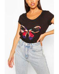 Boohoo T-Shirt À Ourlet Plongeant Imprimé Papillons - Noir