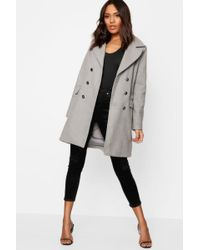 Boohoo - Military Button Wool Look Coat - Lyst