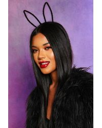 Boohoo Womens Halloween Fluffy Texture Wire Bunny Ears - Black - One Size