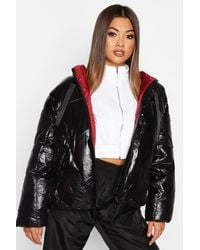 Boohoo Womens Hochglänzende Oversized Puffer Jacke - Schwarz