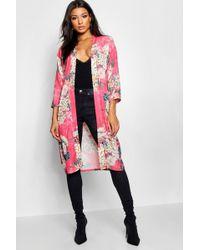 Boohoo - Belted Oriental Kimono - Lyst