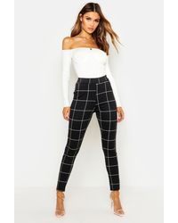 Boohoo Ponte Pocket Detail Printed Pants - Black