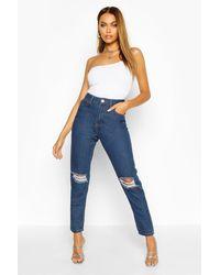 Boohoo High Waist Distressed Mom Jeans - Blue