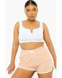 Boohoo Womens Plus Loopback Contrast Trim Runner Shorts - Pink