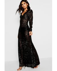 Boohoo Boutique Mia Sequin & Mesh Plunge Neck Maxi Dress - Black