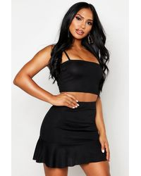 Boohoo Strappy Crop Top And Skater Mini Skirt Co-ord - Black