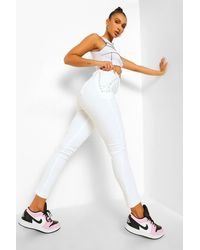 Boohoo Lace Up Side Skinny Jeans - White