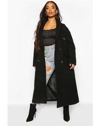 Boohoo Womens Petite Wool Look Double Breasted Long Line Coat - Schwarz