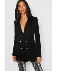 Boohoo Tall Button Detail Tailored Blazer - Black