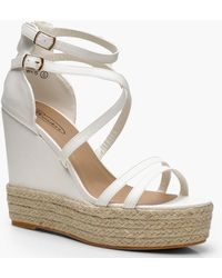 Boohoo - Strappy Espadrille Wedges - Lyst