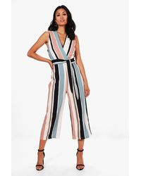 Boohoo Striped Tie Belt Culotte Jumpsuit - Blu
