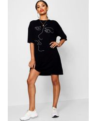 Boohoo - Scribble Face Oversized T Shirt Dress - Lyst