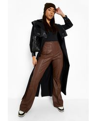 Boohoo Seam Front Flared Formal Pu Trousers - Brown