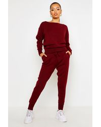 Boohoo Boutique Heavy Knitted Loungewear Set - Red