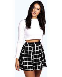 Boohoo Petite Flanneled Box Pleat Skater Skirt - Black