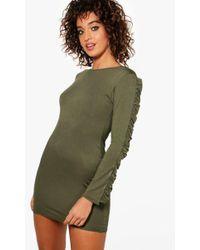 Boohoo - Ruffle Sleeve Bodycon Dress - Lyst