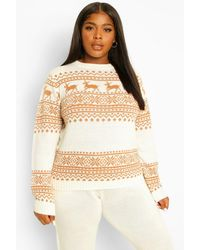 Boohoo Plus Deer Fairisle Knitted Co-ord - Multicolour