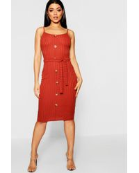 7eb0a4bfd973 Boohoo - Rib Knit Midi Button Front Belted Dress - Lyst