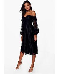 Boohoo Womens Boutique aus Spitze mit Bardot-Ausschnitt und langärmeliges Kleid - Schwarz