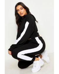 Boohoo Plus Side Stripe Hooded Lounge Set - Black
