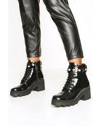 Boohoo Womens Embellished Strap Chunky Hiker Boots - Schwarz