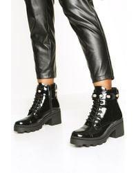 Boohoo Embellished Strap Chunky Hiker Boots - Noir