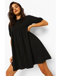 Boohoo - Puff Sleeve Smock Dress - Lyst