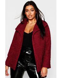Boohoo - Plus Twisted Wool Look Belted Coat - Lyst