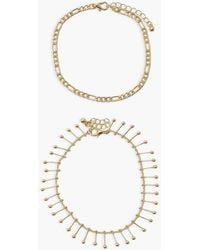 Boohoo 2 Pack Chain And Drop Anklet - Metallic