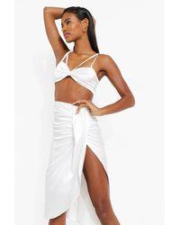 Boohoo Satin Drape Midi Skirt - White