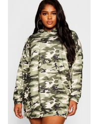 Boohoo - Plus Camo Hooded Dress - Lyst